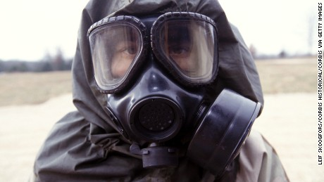 Live sarin and VK nerve agent training in chemical warfare defense. Location: Fort Leonard Wood, Missouri, United States. (Photo by Leif Skoogfors/Corbis via Getty Images)