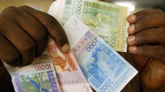 New CFA banknotes in Dakar, Senegal.