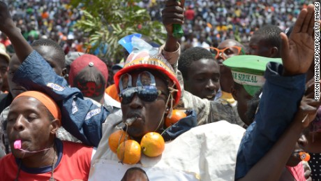 Raila Odinga supporters attend a rally in Nairobi on April 27, 2017, ahead of elections on August 8.