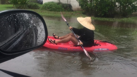 A resident kayaking on the flooded streets of Miami Beach on Tuesday.