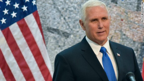 U.S. Vice President Mike Pence, addresses the media during a press conference in Villa Gorica in Podgorica, Montenegro on Wednesday, Aug. 2, 2017. Pence is attending the Adriatic Charter Summit in NATO's newest member - Montenegro, on Wednesday. (AP Photo/Risto Bozovic)