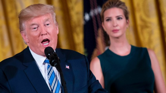 US President Donald Trump speaks next to his daughter Ivanka during an event with small businesses at the White House in Washington, DC, on August 1, 2017.   / AFP PHOTO / JIM WATSON        (Photo credit should read JIM WATSON/AFP/Getty Images)