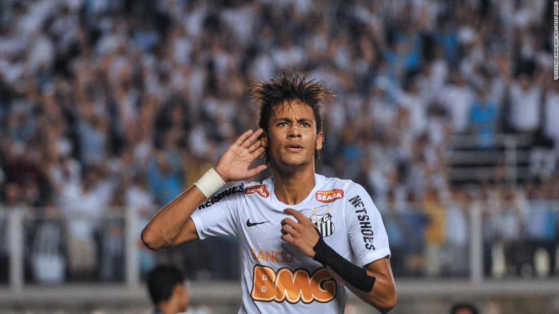 Neymar started his career at Brazilian club Santos and moved to Barcelona in 2013.