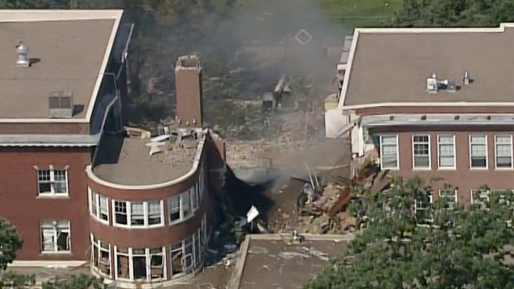 The center section of the building collapsed, authorities said.