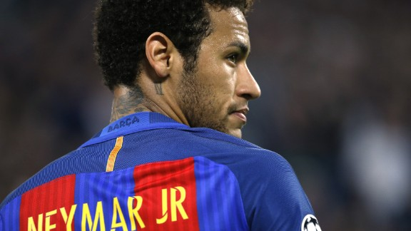 Barcelona's Brazilian forward Neymar looks on during the UEFA Champions League quarter final first leg football match Juventus vs Barcelona, on April 11, 2017 at the Juventus stadium in Turin.  / AFP PHOTO / Marco BERTORELLO        (Photo credit should read MARCO BERTORELLO/AFP/Getty Images)