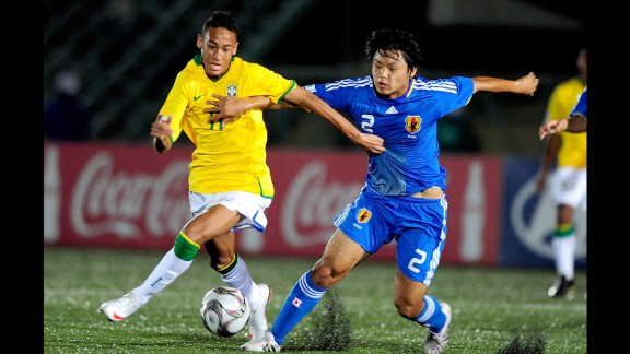 Neymar fends off Japan's Takuya Okamoto during the U-17 World Cup in October 2009. Earlier that year, Neymar made his professional debut for Brazilian club Santos -- the same club that once fielded the legendary Pele.