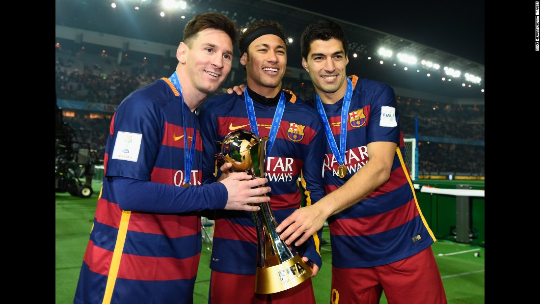 From left, Messi, Neymar and Luis Suarez pose for a photo after Barcelona won the FIFA Club World Cup in December 2015. The three attacking players have been an imposing force together.