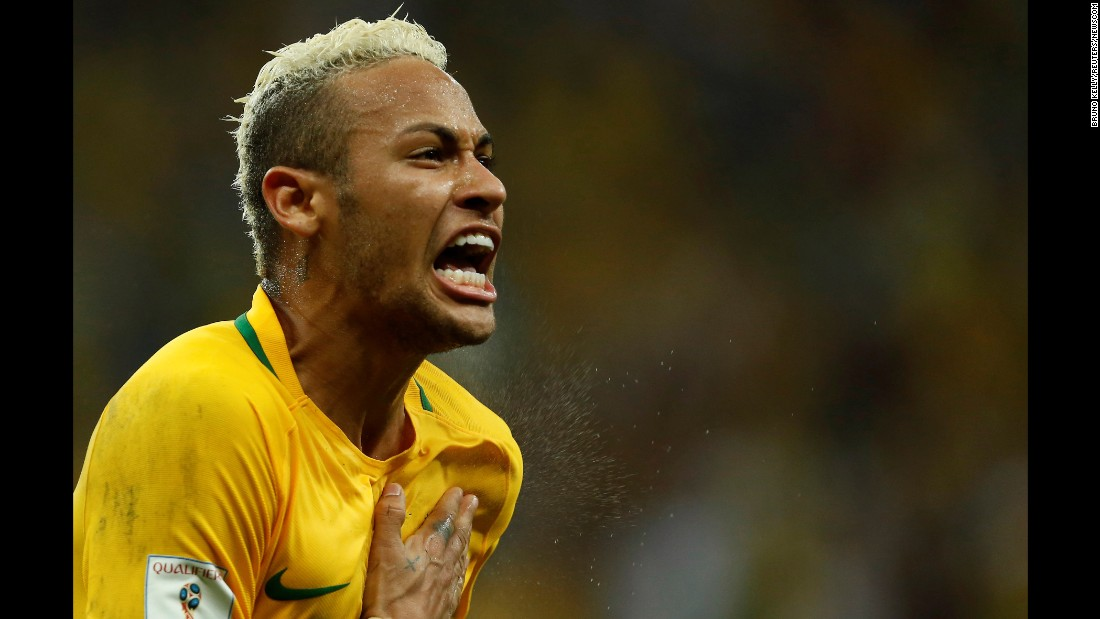 Neymar celebrates a goal against Colombia during a World Cup qualifier in September 2016. He has scored more than 50 goals for his country's senior team.