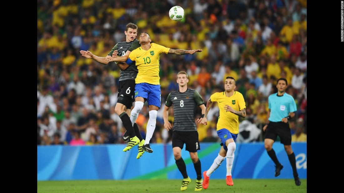 Neymar competes with Germany's Sven Bender during the 2016 Olympic final in Rio de Janeiro. Neymar's goal in the penalty shootout clinched the gold medal for Brazil.
