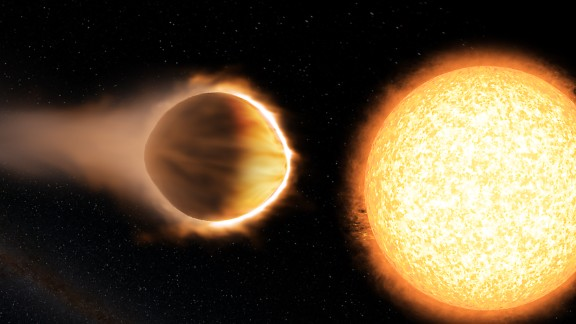 "WASP-121b, 880 light-years away, is considered a hot Jupiter-like planet. It has a greater mass and radius than Jupiter, making it ""puffier."" If WASP-121b were any closer to its host star, it would be ripped apart by the star"