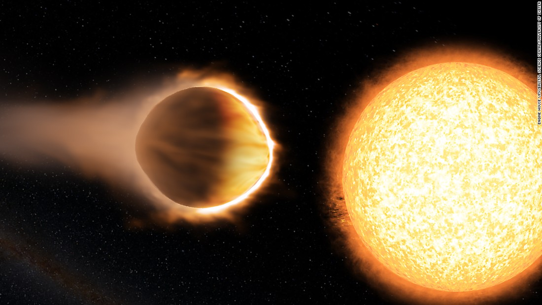 "WASP-121b, 880 light-years away, is considered a hot Jupiter-like planet. It has a greater mass and radius than Jupiter, making it ""puffier."" If WASP-121b were any closer to its host star, it would be ripped apart by the star's gravity."