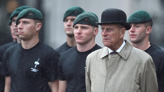 Prince Philip makes his final public appearance before his retirement in August 2017, attending a parade of the Royal Marines at Buckingham Palace. The event also marked an end to Philip's 64 years as captain general, the ceremonial leader of the Royal Marines.