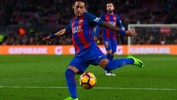 BARCELONA, SPAIN - MARCH 01:  Neymar Jr. of FC Barcelona shoots towards goal during the La Liga match between FC Barcelona and Real Sporting de Gijon at Camp Nou stadium on March 1, 2017 in Barcelona, Spain.  (Photo by David Ramos/Getty Images)