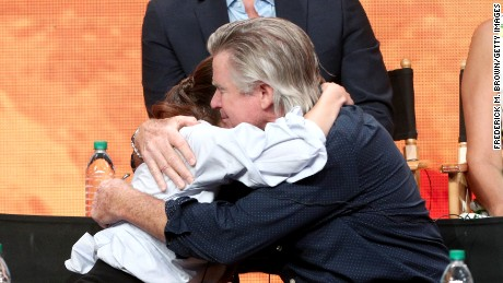 "Actors Vivien Cardone and Treat Williams embrace at the ""Everwood"" reunion panel at the 2017 Summer Television Critics Association Press Tour at The Beverly Hilton Hotel on August 2, 2017 in Beverly Hills, California."