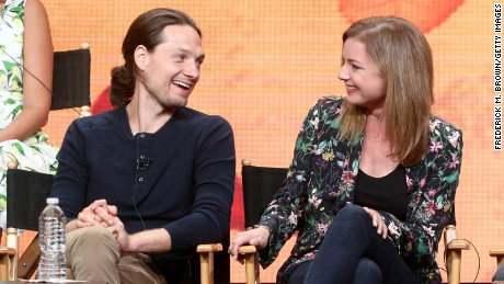 Actors Gregory Smith (L) and Emily VanCamp of ''Everwood' speak onstage during the CW portion of the 2017 Summer Television Critics Association Press Tour at The Beverly Hilton Hotel on August 2, 2017 in Beverly Hills, California.