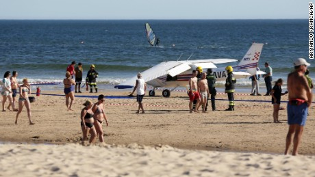 Two people were killed Wednesday after a small plane made an emergency landing at a beach in Portugal.