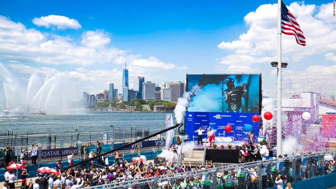 Podium celebrations take place in Brooklyn during another double-header at the New York e Prix. Both races were won by Virgin Racing's Sam Bird.