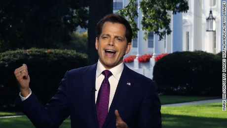White House communications director Anthony Scaramucci speaks on a morning television show, from the north lawn of the White House on July 26, 2017 in Washington, DC.