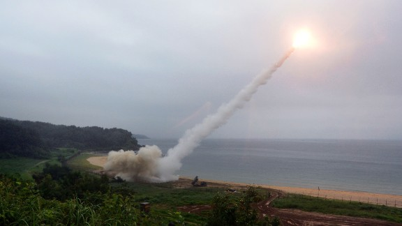 EAST COAST, SOUTH KOREA - JULY 29:  In this handout photo released by the South Korean Defense Ministry, U.S. Army Tactical Missile System (ATACMS) firing a missile into the East Sea during a South Korea-U.S. joint missile drill aimed to counter North Korea