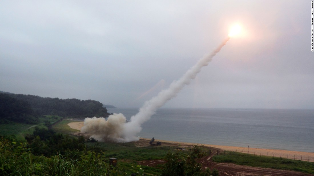 "A missile is fired into waters off the South Korean coast during an exercise carried out by the US and South Korean military on Saturday, July 29. It was a show of force following <a href=""http://www.cnn.com/2017/07/29/asia/north-korea-intercontinental-ballistic-missile-test/index.html"" target=""_blank"">North Korea's test</a> of what experts say was an intercontinental ballistic missile."