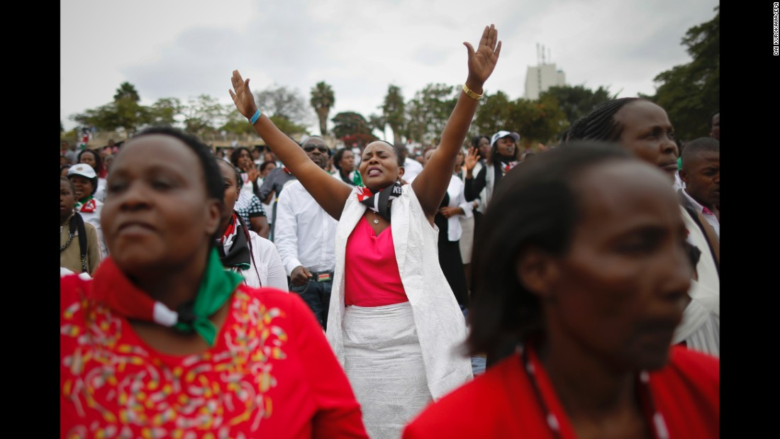 "People attend a prayer rally in Nairobi, Kenya, on Sunday, July 30. Thousands were praying for peaceful elections ahead of <a href=""http://www.cnn.com/2017/08/02/africa/kenya-election-guide/index.html"" target=""_blank"">the presidential vote</a> on August 8."