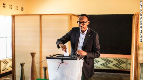 Incumbent Rwandan President Paul Kagame casts his vote in Kigali on Friday.