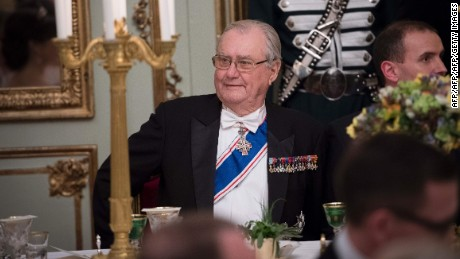 Prince Henrik of Denmark (L) attends a Gala Dinner for Iceland's President at Amalienbog Castle in Copenhagen, Denmark.