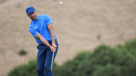 Stephen Curry plays a shot on the tenth hole during the first round of the Web.com Tour Ellie Mae Classic at TPC Stonebrae on August 3, 2017.