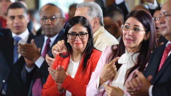 Members of the Constituent Assembly Delcy Rodriguez (C), Cilia Flores (2-R) and Diosdado Cabello (R) attend the Assembly's installation at the National Congress in Caracas on August 4, 2017.Venezuelan President Nicolas Maduro installed a powerful new assembly packed with his allies, dismissing an international outcry and opposition protests saying he is burying democracy in his crisis-hit country. / AFP PHOTO / JUAN BARRETO        (Photo credit should read JUAN BARRETO/AFP/Getty Images)