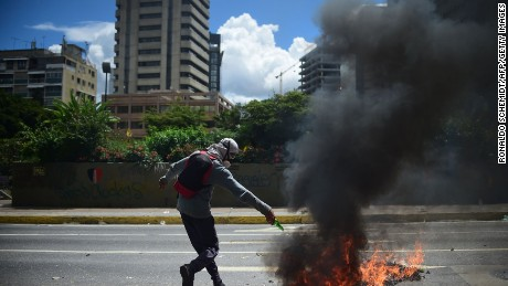 An anti-government activist takes part in a protest against the installation of the Constituent Assembly on August 4, 2017, in Caracas.