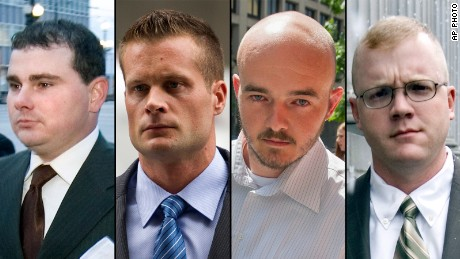 This combination made from file photo shows Blackwater guards, from left, Dustin Heard, Evan Liberty, Nicholas Slatten and Paul Slough.