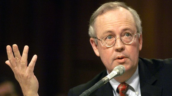April 14, 1999: Independent counsel Ken Starr testified to the Senate Governmental Affairs Committee that the act should not be renewed as, in his view, it is a violation of the separation of powers. (JOYCE NALTCHAYAN/AFP/Getty Images)