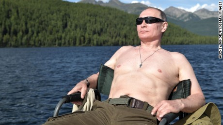 Putin sunbathes this week during his vacation in Siberia.