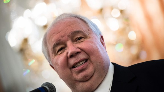 Sergey Kislyak, then the Russian ambassador to the United States, speaks during a chess tournament at the Russian embassy in Washington on May 13, 2017.