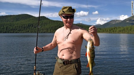 Putin was photographed last year while fishing in Siberia.