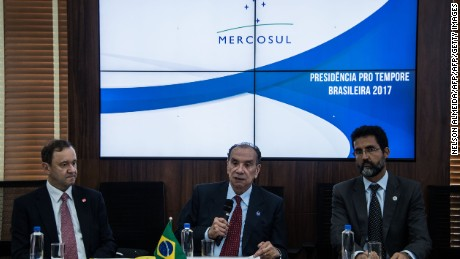 "Brazil's Foreign Minister Aloysio Nunes Ferreira (C) speaks during a meeting of the South American trade bloc Mercosur on the Venezuelan crisis, in Sao Paulo, Brazil, on August 5, 2017. Citing the ""rupture of the democratic order,"" Argentina, Uruguay, Paraguay and Brazil unanimously decided to suspend Venezuela from Mercosur. / AFP PHOTO / Nelson ALMEIDA        (Photo credit should read NELSON ALMEIDA/AFP/Getty Images)"