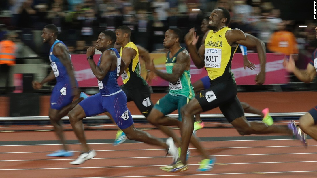 In what was his final 100-meter race before retirement, Bolt finished third in the final of the 2017 World Championships. American Justin Gatlin finished first but bowed down to Bolt after the race.