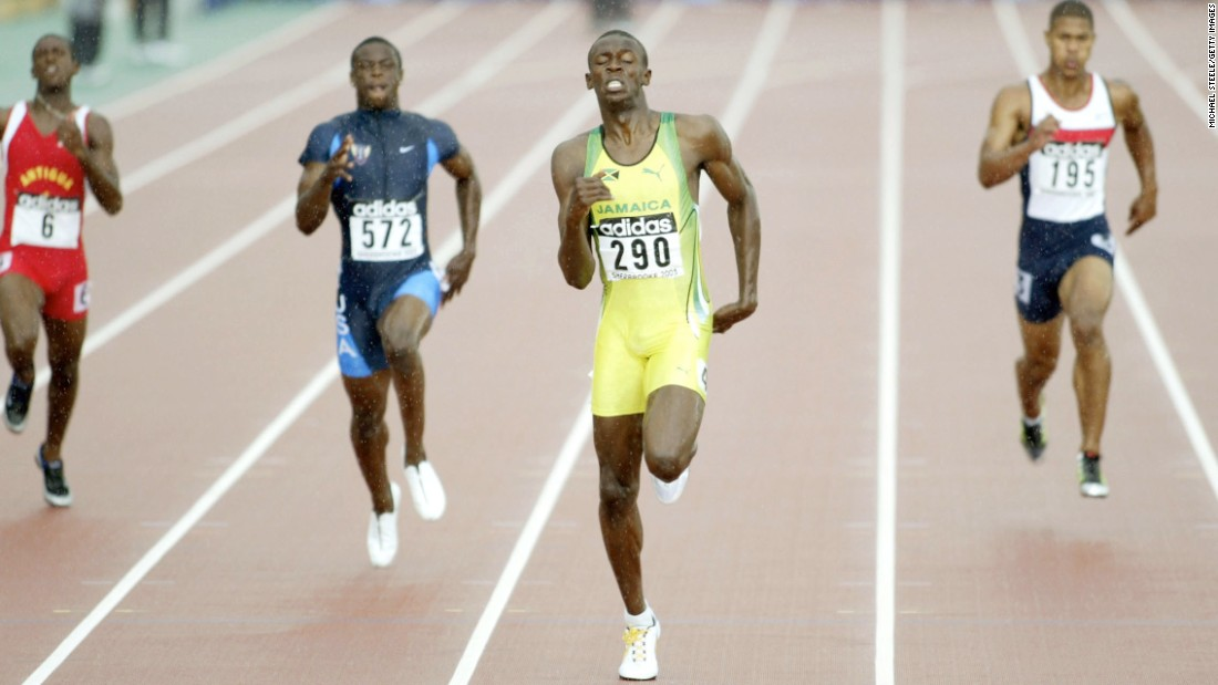 Bolt wins the 200 meters at the 2003 World Youth Championships in Sherbrooke, Canada. He went pro a year later.
