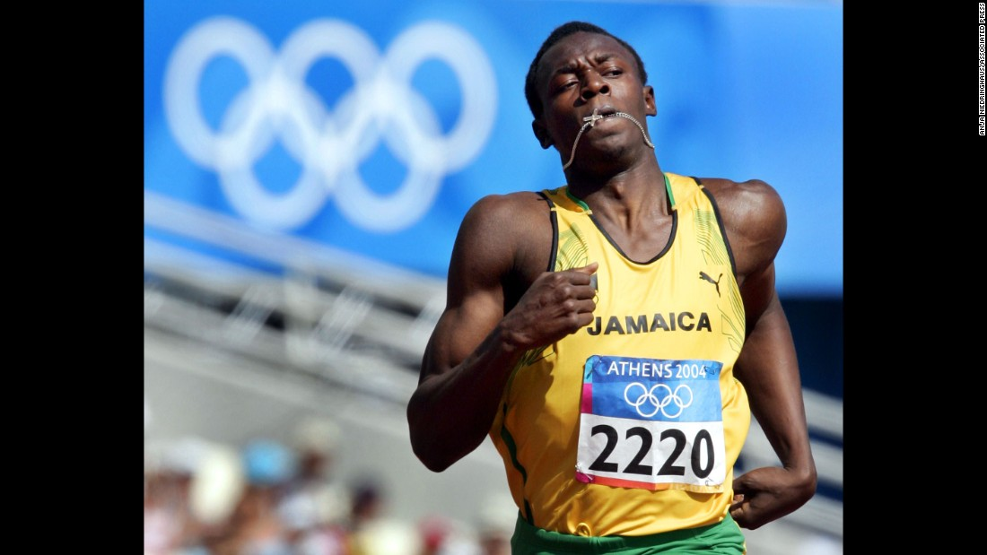Bolt, at age 19, runs the men's 200-meter during the 2004 Olympic Games in Athens, Greece. He didn't make it out of the first round of qualifying.