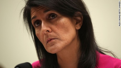"U.S. Ambassador to the United Nations Nikki Haley testifies during a hearing before the House Foreign Affairs Committee June 28, 2017 on Capitol Hill in Washington, DC. The committee held a hearing on ""Advancing U.S. Interests at the United Nations."""