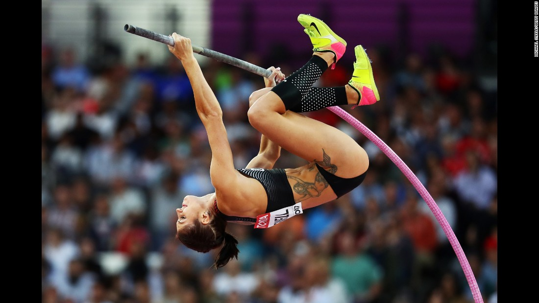 Canadian pole-vaulter Alysha Newman competes at the World Championships on Friday, August 4.