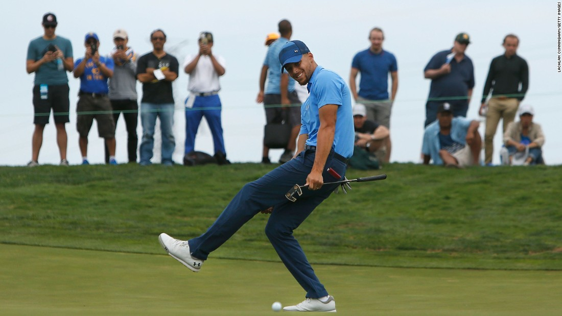 "Basketball star Stephen Curry reacts to a missed putt at the Ellie Mae Classic, a pro golf event he played in Heyward, California, on Thursday, August 3. Curry got a sponsor's exemption to play in the tournament, which is part of the Web.com Tour just below the PGA Tour. He missed the cut, but <a href=""http://bleacherreport.com/articles/2725784-stephen-curry-shoots-74-friday-misses-cut-at-webcom-tours-ellie-mae-classic"" target=""_blank"">he surprised many</a> with how well he played. He finished 8 over par with two rounds of 74."