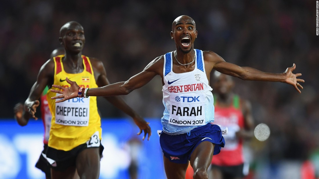 British athlete Mo Farah celebrates after winning the 10,000 meters at the World Championships on Friday, August 4. He has owned the event since 2012, winning gold at two Olympics and three World Championships.