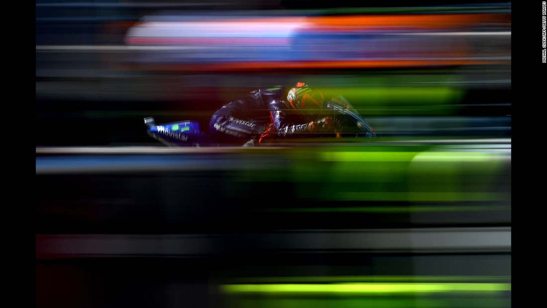 Motorcycle rider Maverick Vinales practices Saturday, August 5, ahead of the MotoGP race in Brno, Czech Republic.