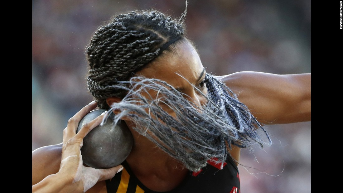 Belgian heptathlete Nafissatou Thiam prepares to throw the shot put during the World Championships on Saturday, August 5. Thiam finished first in the heptathlon, an event she also won at last year's Olympic Games.