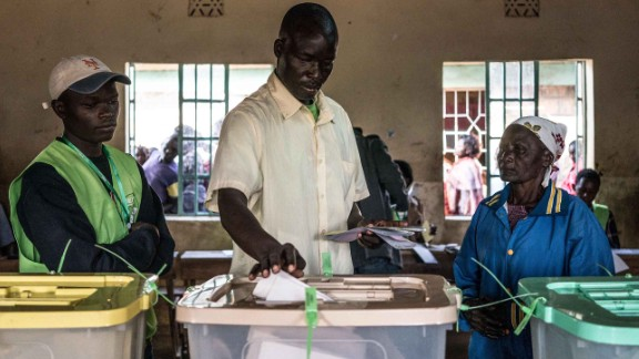 Voters cast their ballot in Kisumu, on Lake Victoria, last month. Kenya's Supreme Court has ordered a rerun of the the disputed presidential election.