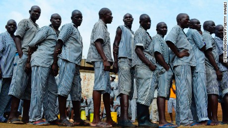 Inmates vote at Kisumu prison. This is the first time that inmates in Kenya were allowed to vote; they were only permitted to vote for presidential candidates.