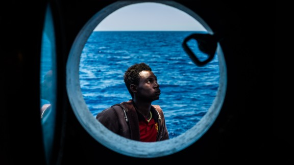 An African migrant aboard the Spanish humanitarian rescue boat Golfo Azzurro in June.