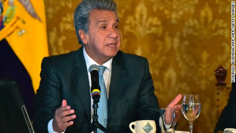 Ecuadorean President Lenin Moreno speaks during a press conference at Carondelet Palace in Quito on May 29, 2017. / AFP PHOTO / RODRIGO BUENDIA        (Photo credit should read RODRIGO BUENDIA/AFP/Getty Images)