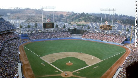 General view of Dodger Stadium from behind home plate, top deck level, during a game beteen the Los Angeles Dodgers and the San Francisco Giants in April of 1984 at Chavez Ravine, Los Angeles, California.